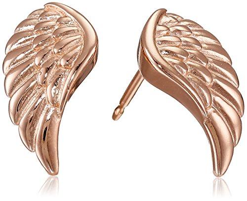 Earrings Gold Angel (14k Rose Gold Plated Sterling Silver Angel Wing Stud Earrings)