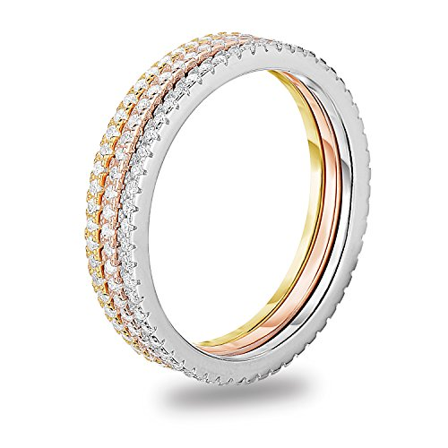 Stackable Cubic Set Zirconia - Tri Tone Plated 925 Sterling Silver Cubic Zirconia 3pcs Stackable Stacking Ring Wedding Eternity Band, Size 6