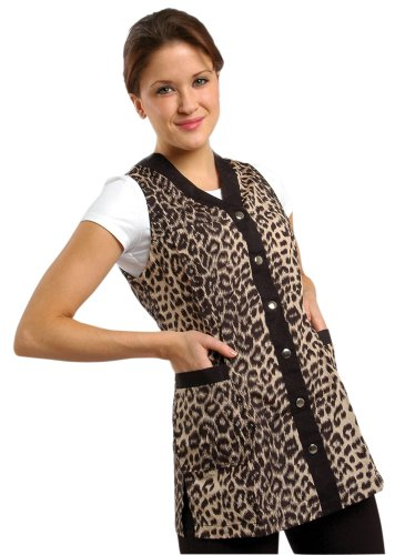 Sleeveless Leopard Salon Smock (M (8))