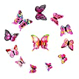 Cinlla DIY Mural Decoration Magnificent 3D Butterfly Wall Stickers For Office Home Bedroom Kids Room Nursery Refrigerator Magnet Decor (12pcs)_Pink