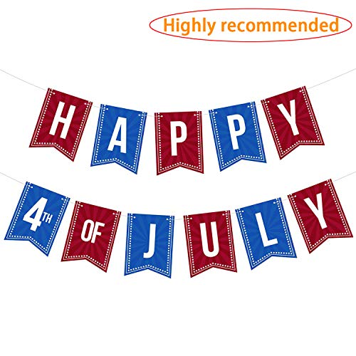 LINGPAR Highly Recommended Happy 4th of July Banner -Independence Day American USA Patriotic Sign Decoration Supplies Red and Blue ()