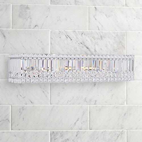 "Possini Euro Crystal Columns 30"" Wide Chrome Bath Light 85%OFF"
