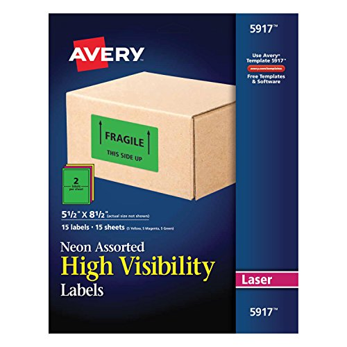 Avery Permanent Neon Rectangular Labels for Laser Printers, 5-1/2-Inch x 8-1/2-Inch labels, 8-1/2-Inch x 11-Inch sheets, Assorted , 30 Permanent labels per package (5917) ()