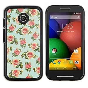 Caucho caso de Shell duro de la cubierta de accesorios de protección BY RAYDREAMMM - Motorola Moto E - menta verde floral de rosa pintado retro