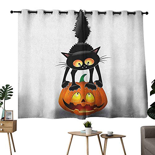 Mannwarehouse Halloween Simple Curtain Black Cat on Pumpkin Drawing Spooky Cartoon Characters Halloween Humor Art Privacy Protection 72