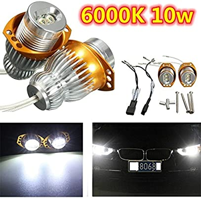 2 x 6000 K White 10 W Angel Eyes LED Marker Bombilla Bombilla LEDs para BMW E90 E91