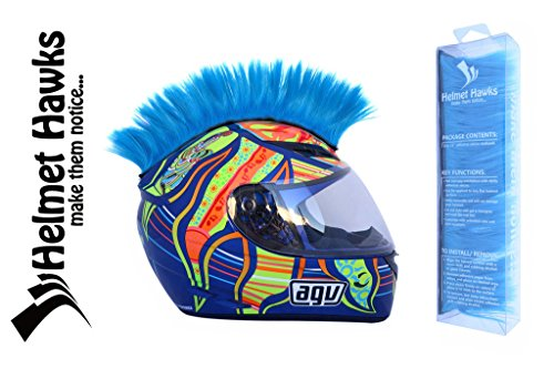 Helmet Hawks- Motorcycle Helmet Mohawk w/Sticky Hook and Loop Fastener Adhesive - Fluorescent Neon Blue