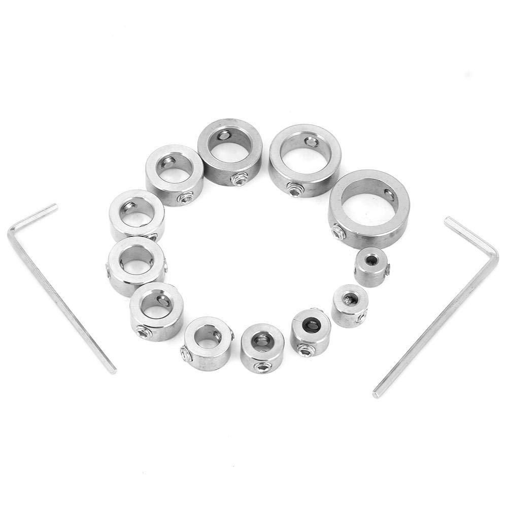 Juego de collar/ín de tope para taladro de 12 piezas localizador consistente de perforaci/ón con anillo de l/ímite de mandril de eje de pasador de profundidad de taladro de acero inoxidable de 3-16 mm