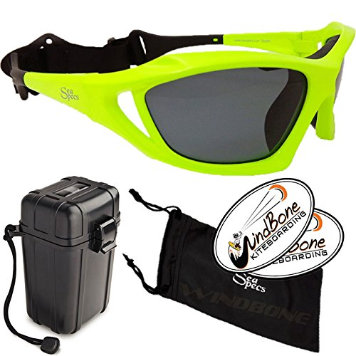 SeaSpecs Stealth Neon Green Yellow Extreme Water Sports Floating Sunglasses w Hard Case Bundle (4 Items) + Waterproof Hard Padded Case + Soft Carry Pouch + WindBone Kiteboarding Lifestyle Stickers