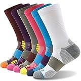 Getspor Unisex Running Socks,Wick Moisure Cushion Thick Crew Sock 1,3,6 Pairs
