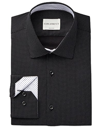 Con.Struct Men's Slim Fit Black Micro Dot Check Dress Shirt 16 32-33 -
