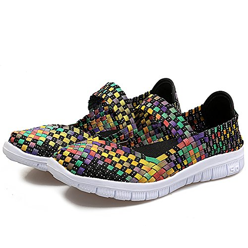 FZDX Women Woven Shoes Slip On Fashion Sneakers Lightweight Walking Shoes Handmade Comfort Yellow 577 42xbyK7hqN