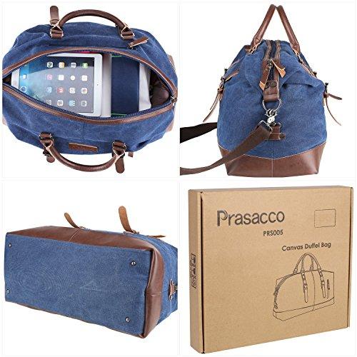 PRASACCO Sporttasche Weekender Reisetasche Haltbar Handgepäck Schultertasche Travel Bag Holdall Unisex Seesack 43 Liter bis 10kg Multifunktion Große Canvas bag aus PU Leder
