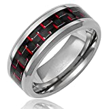 Tungsten Carbide Ring Wedding Band with Black and Red Carbon Fiber Inlay (Available in Sizes 8 to 15) [Size 9] Picture