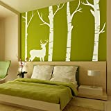 MairGwall Tree Vinyl Deer And Birch Tree Art Sticker Home Living Room Art Murals Office Vinyl (Large, White)