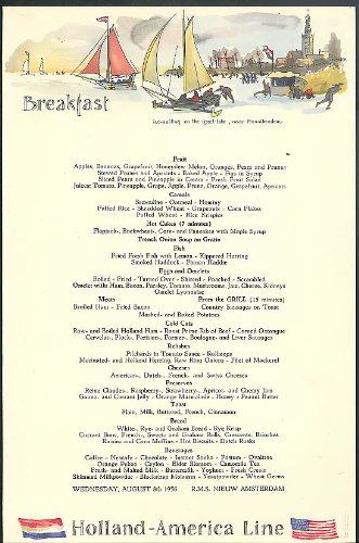 Amazon holland america line s s nieuw amsterdam breakfast menu holland america line s s nieuw amsterdam breakfast menu card 88 1956 publicscrutiny Image collections