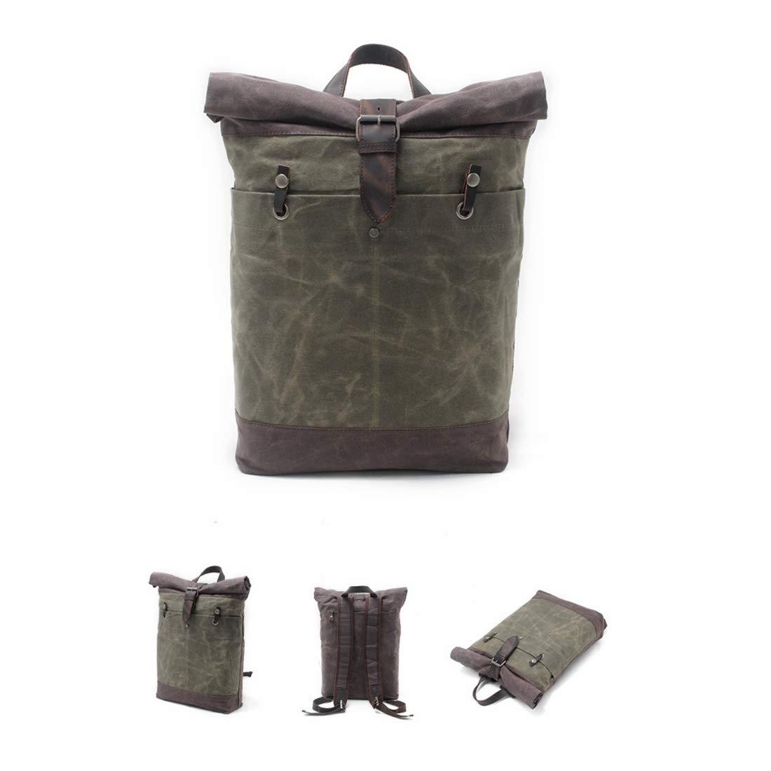 KERVINJESSIE Mens Vintage Canvas Leather Backpack Large Travel Rucksack Bookbag Satchel College Student Daypack