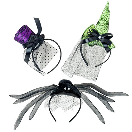 Green Witch Hat Headband (Halloween Adult Headbands Set of 3 - Top Hat, Witch's Hat and Spider (Purple, Black & Green))