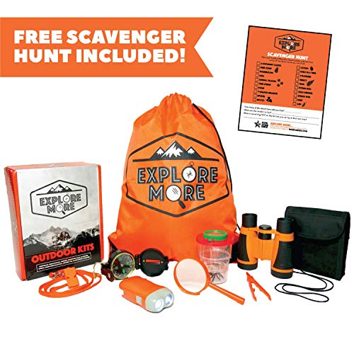 Outdoor Exploration Kit for Kids. Set of Binoculars, Flashlight, Magnifying Glass, Bug Catcher, Compass, Whistle, Backpack, Scavenger Hunt. Great Gift for Boys, Girls, Camping, Hiking, Educational (Best Scavenger Hunt Items)