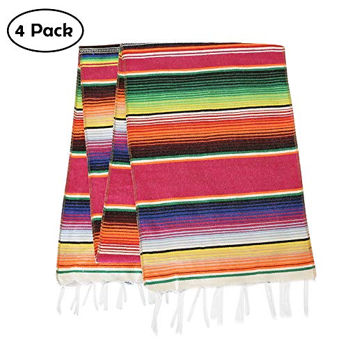 Eccbox 14 x 84 inch Mexican Serape Table Runner Mexican Party Wedding Decorations, Fringe Cotton Striped Table Runner Fiesta Decorations Pack of 4 -