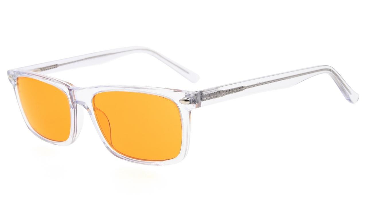 Eyekepper Blue Light Blocking Computer Glasses-Acetate Frame Better Sleep Reading Glasses Men Women (Transparent, 2.00)