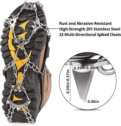 PINGAN 23 Spike Ice Cleat Snow Safety Traction Cleats for Men or Women, Abrasion Resistant 201 Stainless Steel, 23 Spikes On Each Foot, Flexible Silicone Frame, Tensioning Straps, Storage Bag