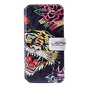 Fashion Tiger Art Pattern Leather Case with Holder & Card Slots for iPhone 5C