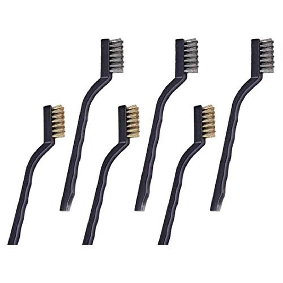 6 Piece Mini Wire Brush Set Brass Steel Nylon Hobby Crafts Cleaning Multi Use