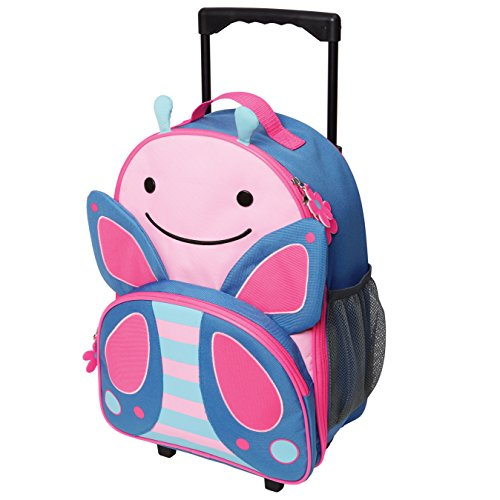 Skip Hop Zoo Kids Rolling Luggage, Blossom Butterfly, Pink, Small/Large/X-Small, 4 oz