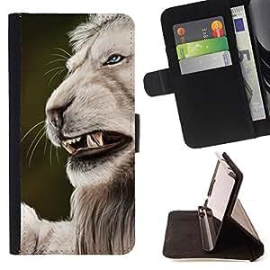 BullDog Case - FOR/Apple Iphone 6 PLUS 5.5 / - / roar angry big cat lion nature white /- Monedero de cuero de la PU Llevar cubierta de la caja con el ID Credit Card Slots Flip funda de cuer