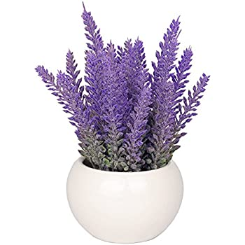 Amazon the most beautiful artifical flowers in the world vgia white ceramic artificial potted plant with home decorative fake lavender flowers mightylinksfo