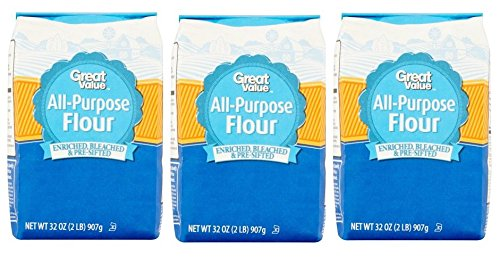 Great Value, Enriched Bleached & Pre-Sifted All-Purpose Flour, 32 Oz (Pack of 3) (Enriched Bleached Wheat Flour)