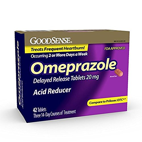 GoodSense Omeprazole Delayed Release, Acid Reducer Tablets 20 mg, 42 Count - Pack of 2 by Good Sense