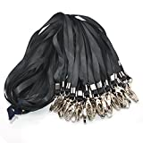 Warmter 50 Pack Lanyard Badge Lanyards For ID Name Tags and Badge Holders (Black)