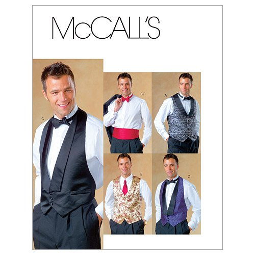 McCall's Patterns M4321 Men's Lined Vests, Bow Tie and Cummerbund, Size Y (SM-MED-LRG)