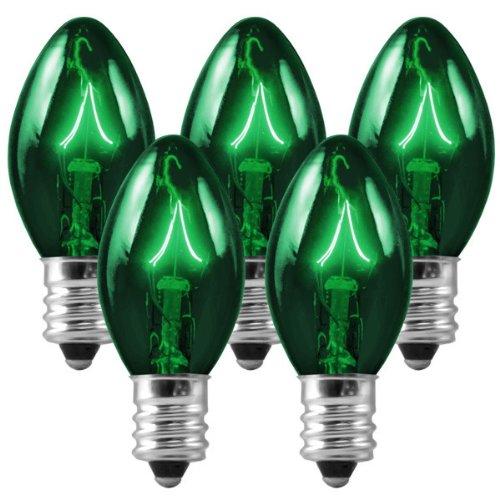 C7 - Transparent Green - Triple Dipped - 5 Watt - Candelabra Base - Christmas Lights - 25 Pack (Green Christmas Light Bulb)