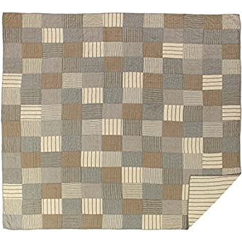 Image of Home and Kitchen VHC Brands Farmhouse Bedding-Sawyer Mill Quilt, King, Charcoal Grey