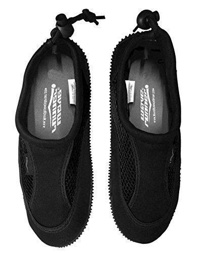Wave Runner Quick Dry Wasserschuhe Aqua Socken Barfuß Slip-On mit verstellbaren Rückengurt für Männer Frauen Schwarz