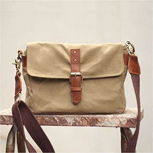 Gouache ''Harvey'' Handcrafted Waxed Canvas Camera Bag - Khaki by Gouache Bags