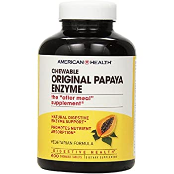 American Health Original Papaya Enzyme Chewable Tablets, 600 Count