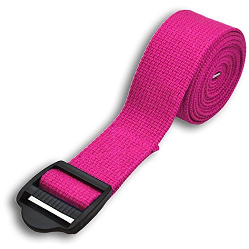 YogaAccessories 8' Cinch Buckle Cotton Yoga Strap (Pink)