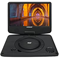 Koramzi Portable 9 Swivel DVD Player with Rechargeable Battery / USB / AV Out / Headphone Jack / Remote Control/ AC-DC Power Adaptor/ Multi-Region DVD Format- PDVD-900