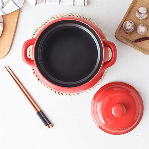 AMYZ Ustensiles de Cuisine en Terre Cuite en Terre Cuite,Casserole en céramique avec Couvercle,marmite à Soupe pour Cuisson Lente,marmite Profonde en céramique Rouge 3.7 Quart