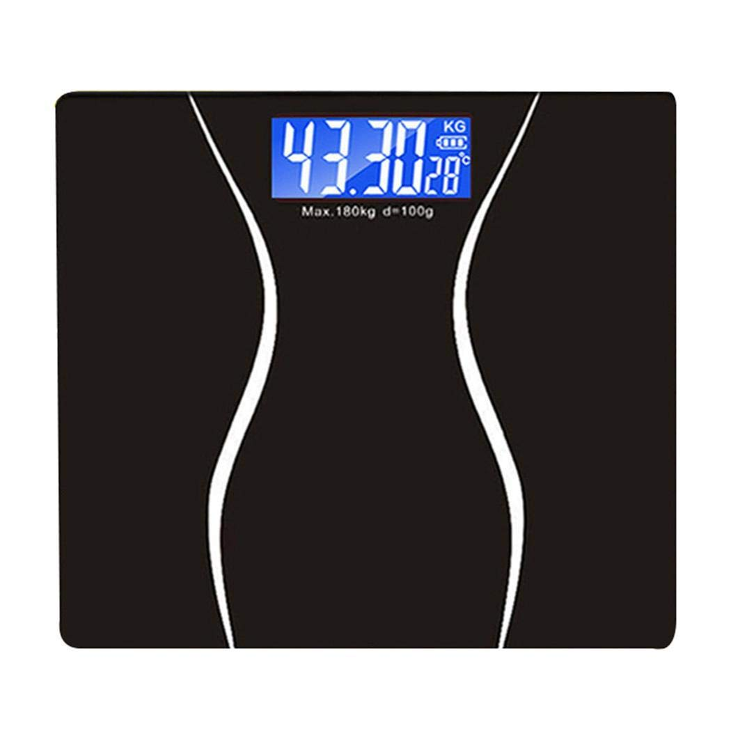 Yirind Digital Body Weight Scale,180Kg/396Lb Scales, Support Night Vision and Measuring Temperature, Black