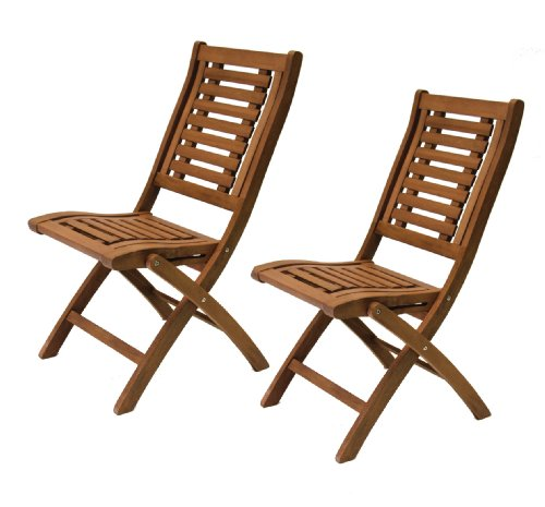 Folding Eucalyptus Side Chair Fully Assembled, 2 pack (Assembled Garden Furniture Fully)