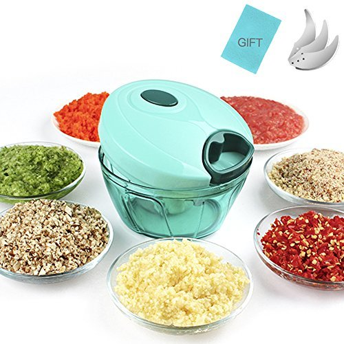 HansGo Manual Food Chopper, Pull String Compact Powerful Hand Held Vegetable Chopper Handpower Blender Mixer for Vegetable Fruits Nuts Onions