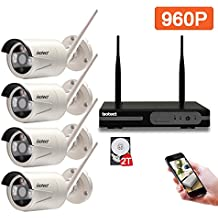 Wireless Security Camera System, Isotect 8CH HD Wireless WiFi NVR Kit 4pcs 960P Indoor/Outdoor IP Video Security Cameras System, Smartphone Remote View and 65ft Night Vision, 2TB Hard Drive