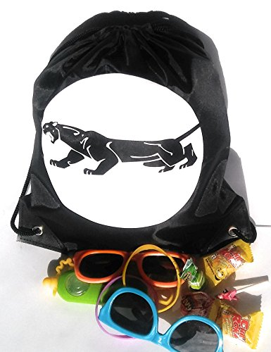 Panther Black mini drawstring favor bag for kids birthday parties, REUSABLE, PACK OF 10 by 44Cloverdale