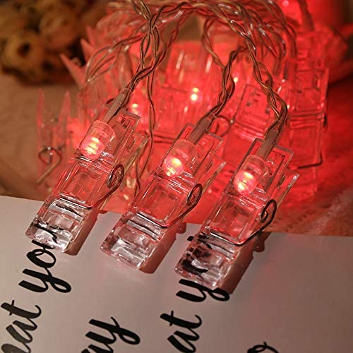 40 LED Photo Clip String Lights,Battery Operated Photo Peg Light Clip 8 Colors for Party Wedding Hanging Photo Decor,Artwork Christmas Cards Holder Gift