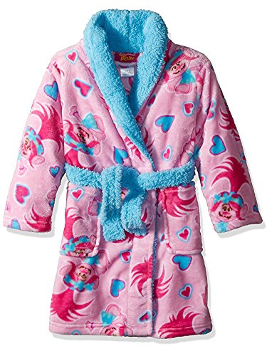 Trolls Little Girls' Luxe Plush Robe, Light Pink Fun, 4 by Trolls